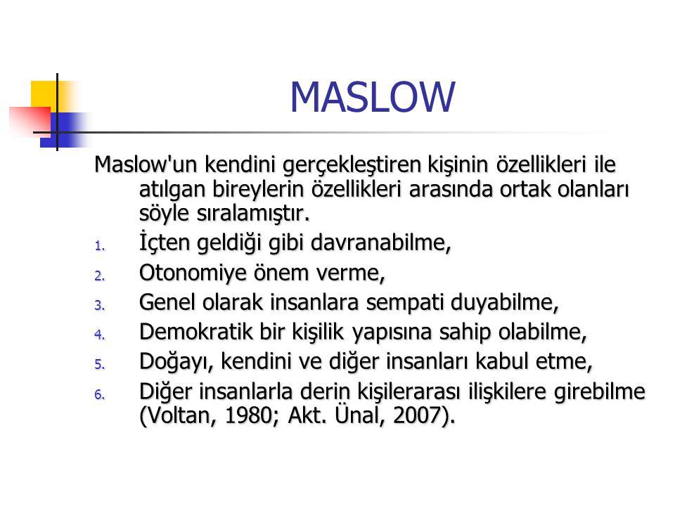 MASLOW Maslow un kendini gerçekleştiren kişinin özellikleri ile atılgan bireylerin özellikleri arasında ortak olanları söyle sıralamıştır.