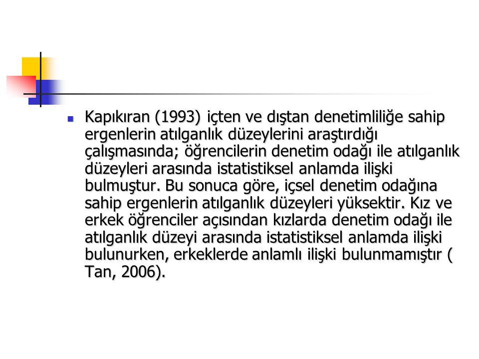 Kapıkıran (1993) içten ve dıştan denetimliliğe sahip ergenlerin atılganlık düzeylerini araştırdığı çalışmasında; öğrencilerin denetim odağı ile atılganlık düzeyleri arasında istatistiksel anlamda ilişki bulmuştur.