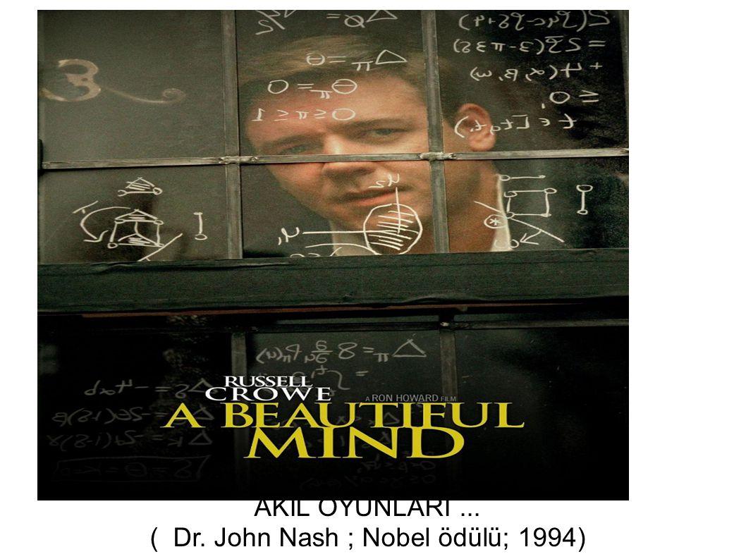 AKIL OYUNLARI ... ( Dr. John Nash ; Nobel ödülü; 1994)