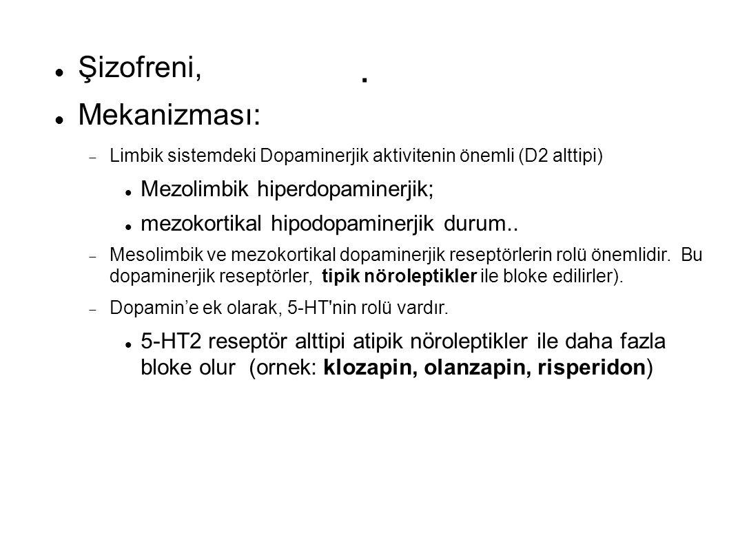 . Şizofreni, Mekanizması: Mezolimbik hiperdopaminerjik;