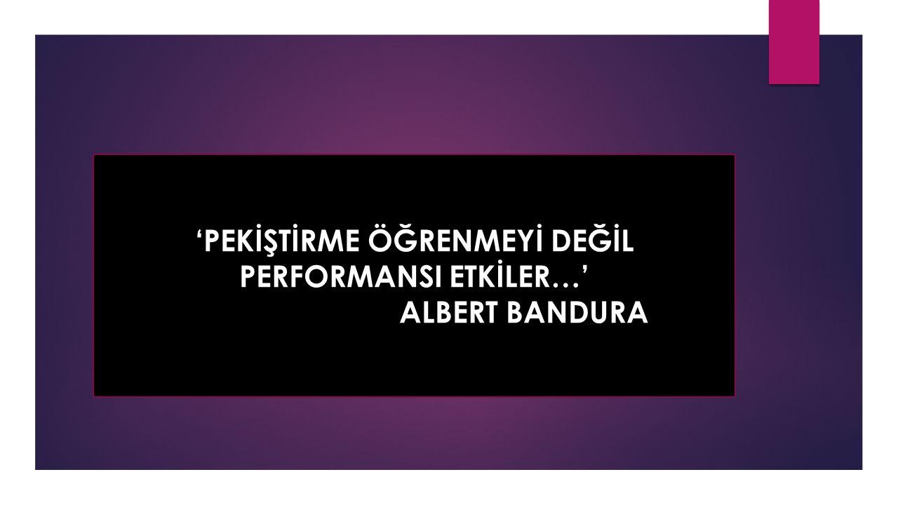 'PEKİŞTİRME ÖĞRENMEYİ DEĞİL PERFORMANSI ETKİLER…'