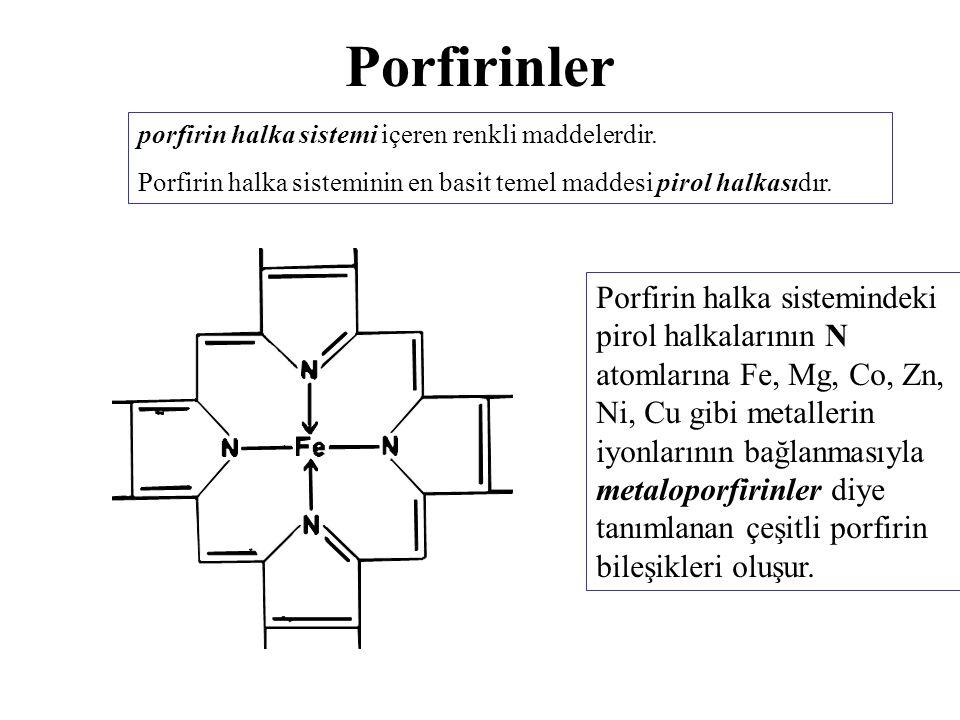 Porfirinler porfirin halka sistemi içeren renkli maddelerdir. Porfirin halka sisteminin en basit temel maddesi pirol halkasıdır.