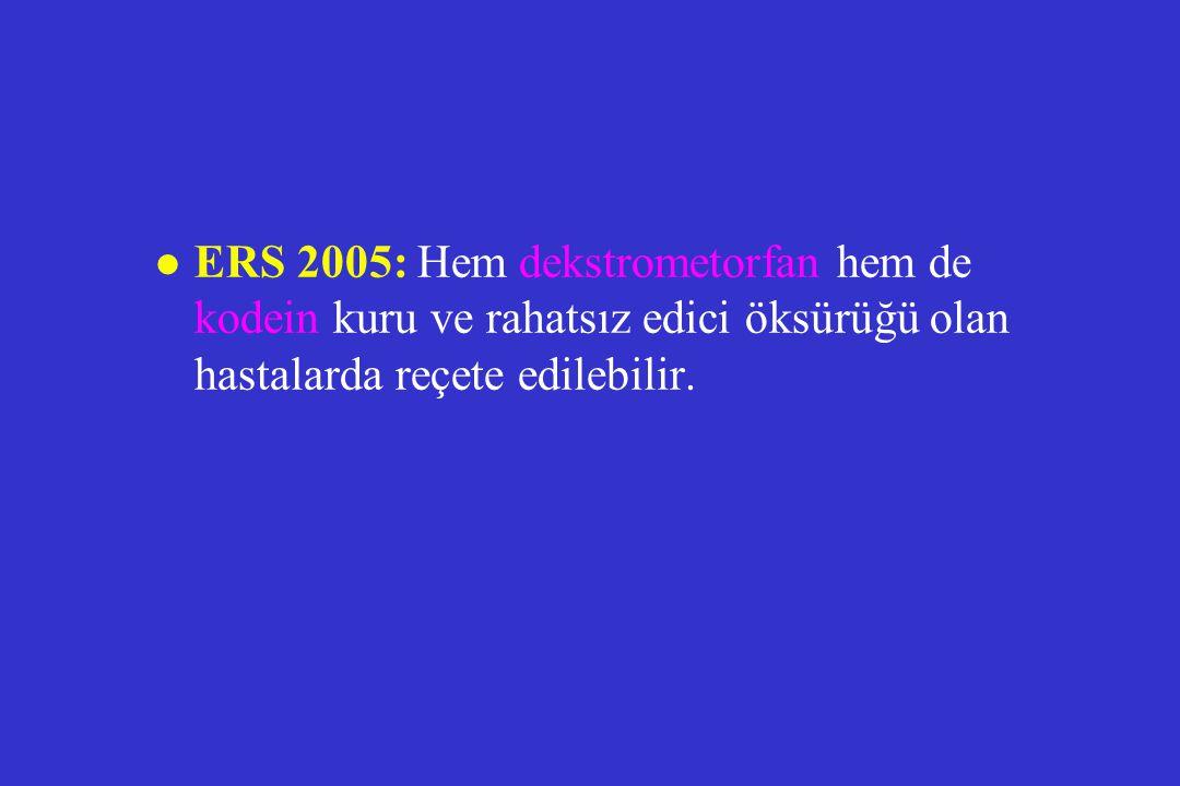 ERS 2005: Hem dekstrometorfan hem de kodein kuru ve rahatsız edici öksürüğü olan hastalarda reçete edilebilir.