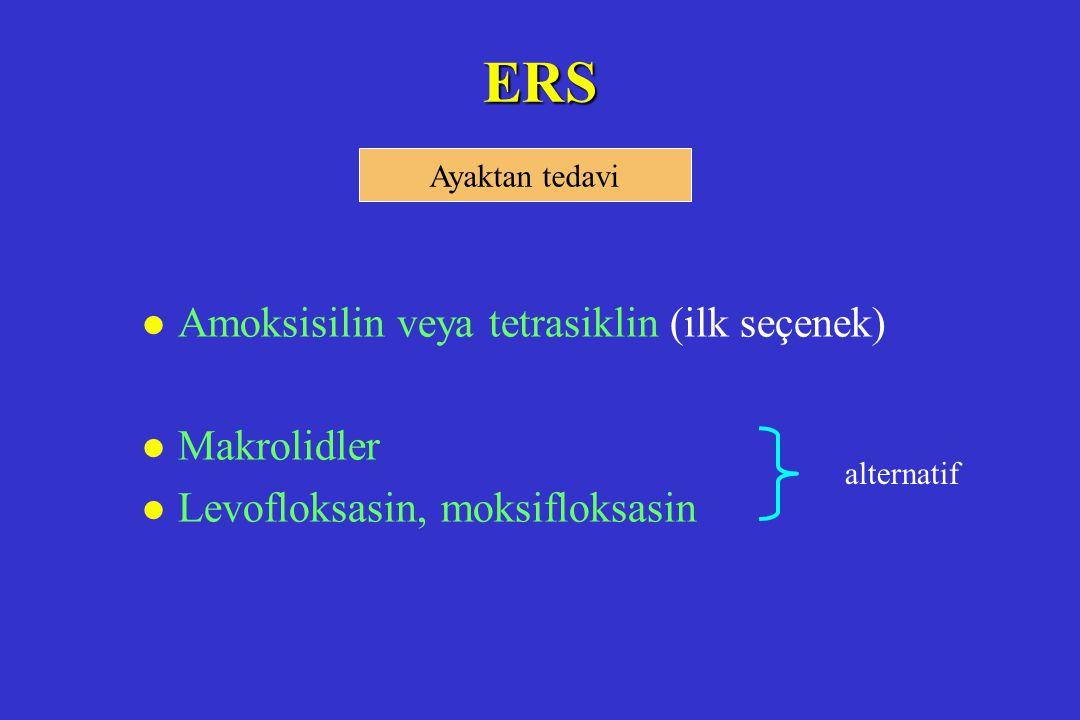 ERS Amoksisilin veya tetrasiklin (ilk seçenek) Makrolidler