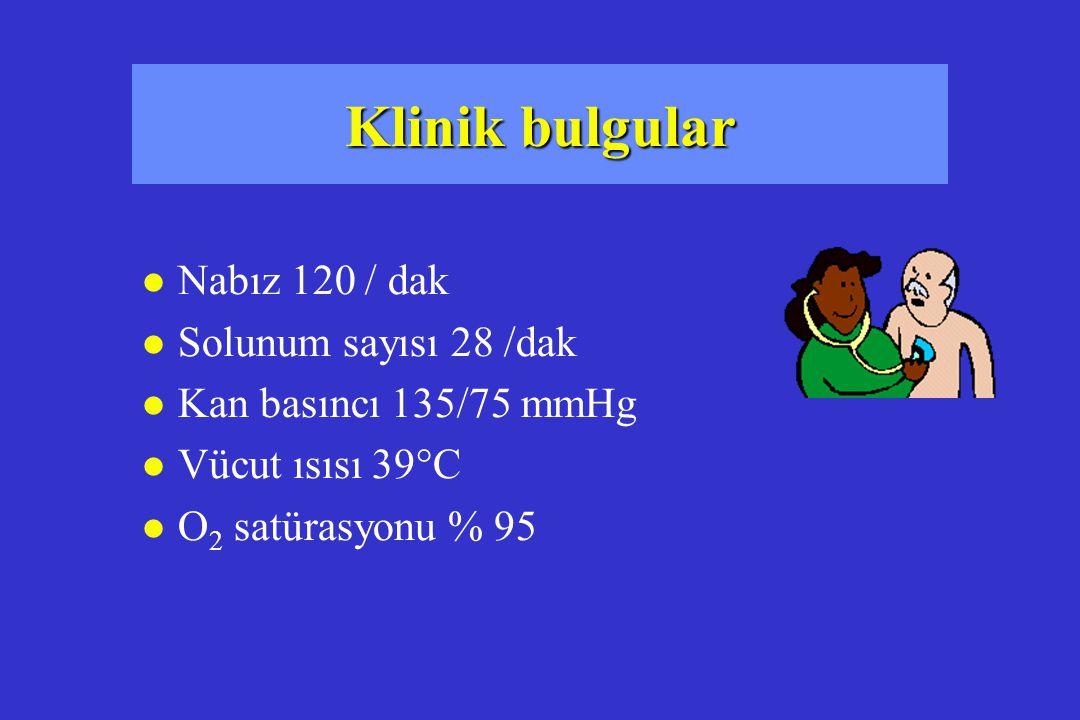 Klinik bulgular Nabız 120 / dak Solunum sayısı 28 /dak