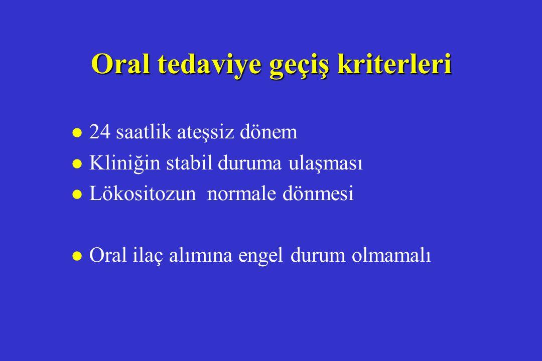 Oral tedaviye geçiş kriterleri