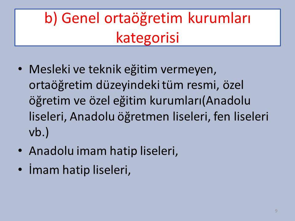 b) Genel ortaöğretim kurumları kategorisi