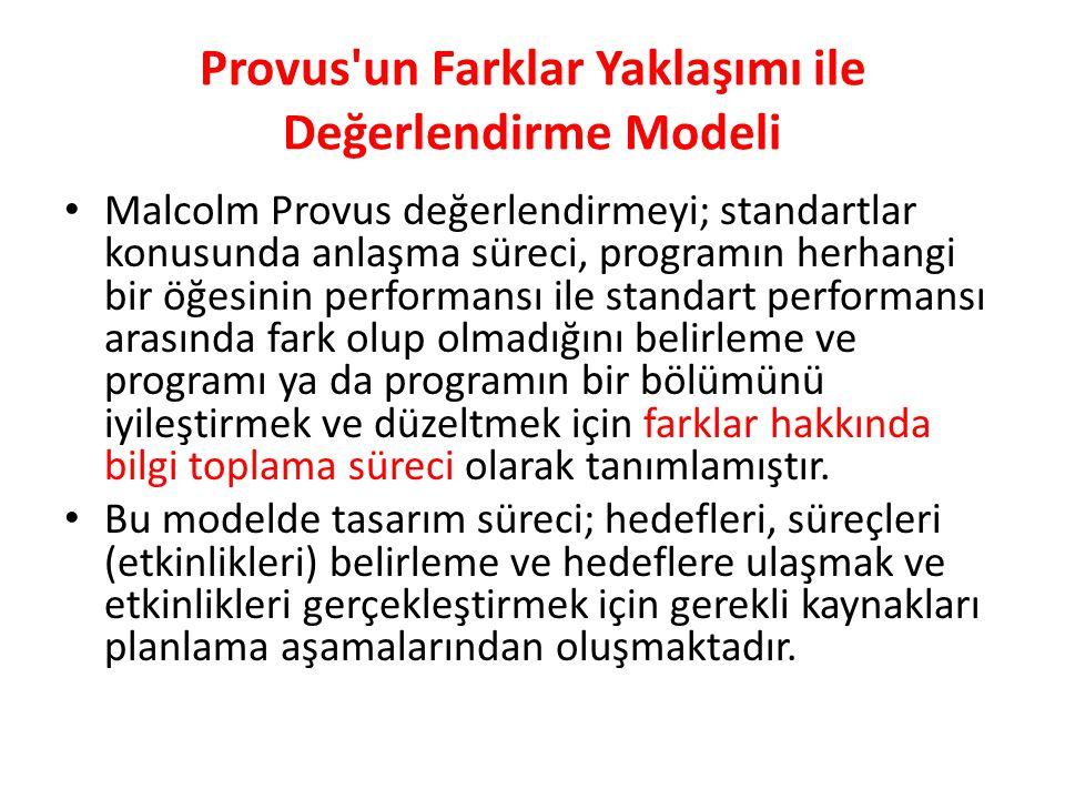 Provus un Farklar Yaklaşımı ile Değerlendirme Modeli