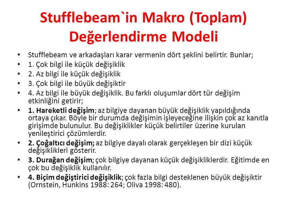 Stufflebeam`in Makro (Toplam) Değerlendirme Modeli