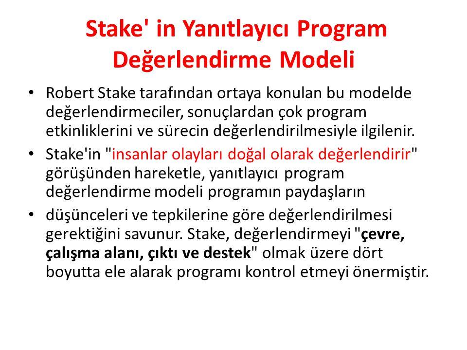 Stake in Yanıtlayıcı Program Değerlendirme Modeli