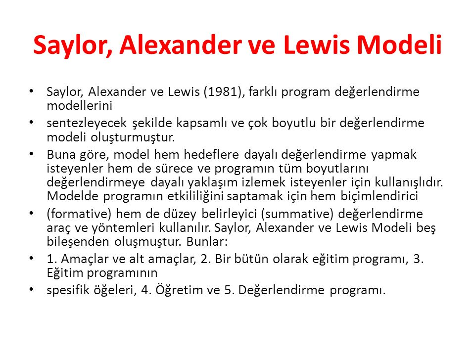 Saylor, Alexander ve Lewis Modeli