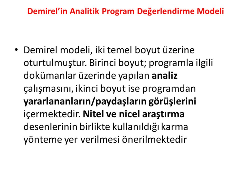 Demirel'in Analitik Program Değerlendirme Modeli