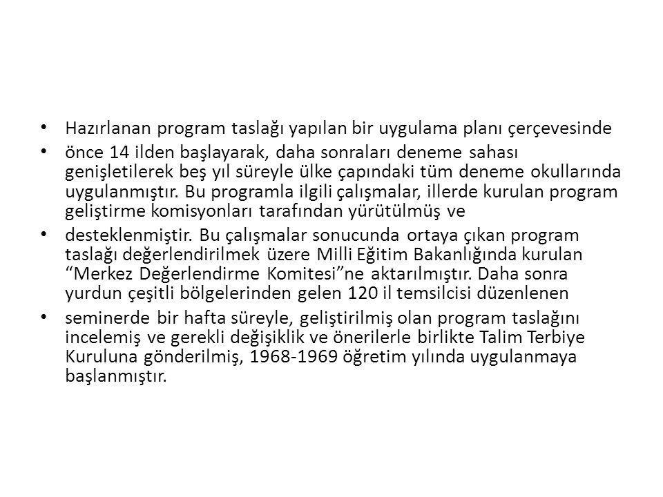 Hazırlanan program taslağı yapılan bir uygulama planı çerçevesinde