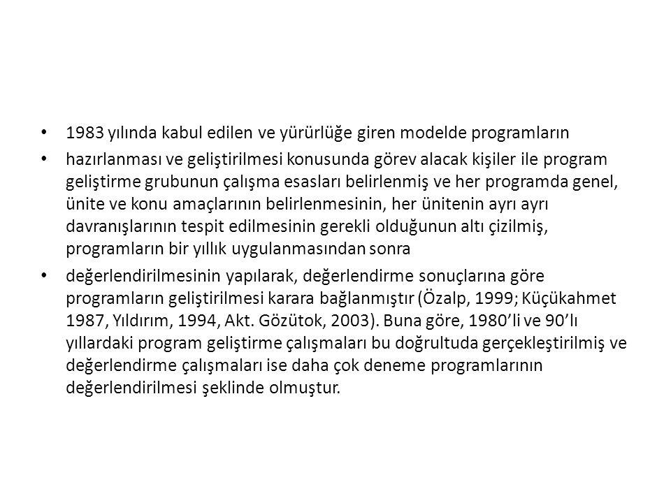 1983 yılında kabul edilen ve yürürlüğe giren modelde programların
