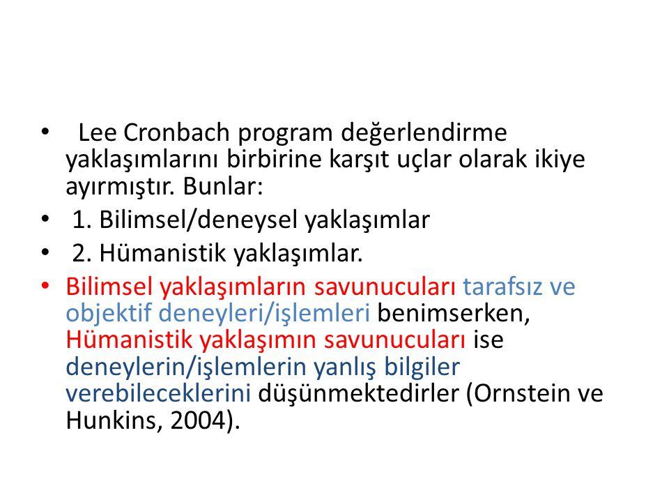 Lee Cronbach program değerlendirme yaklaşımlarını birbirine karşıt uçlar olarak ikiye ayırmıştır. Bunlar: