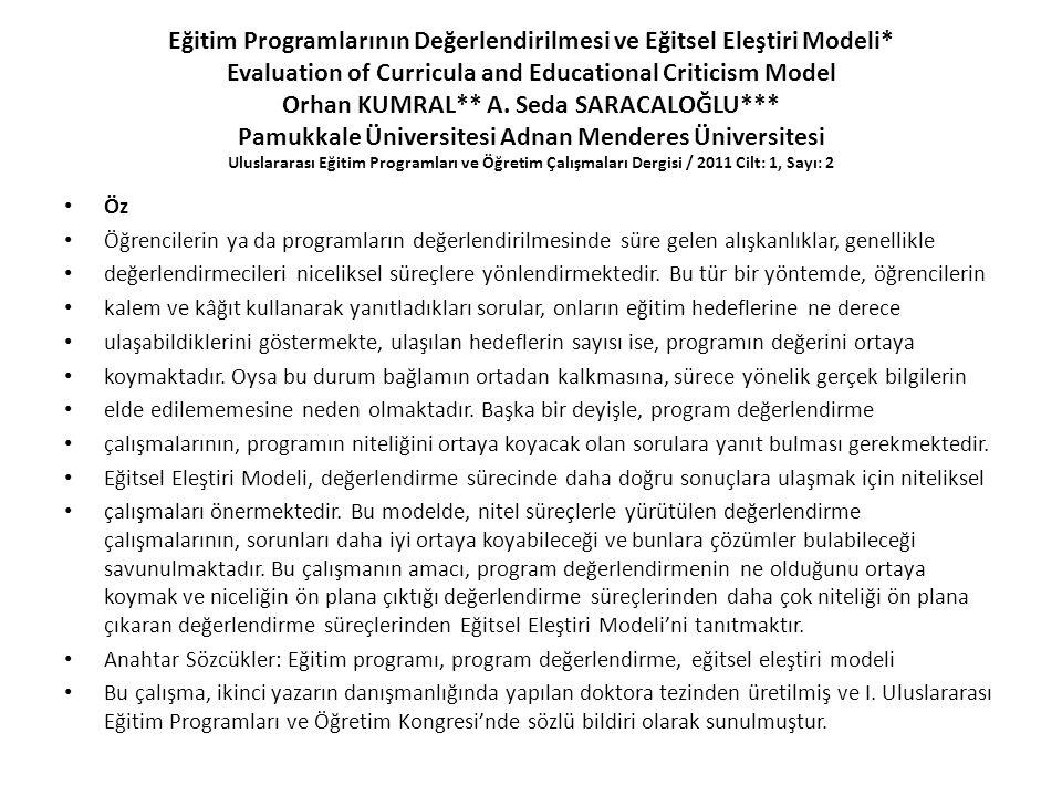Eğitim Programlarının Değerlendirilmesi ve Eğitsel Eleştiri Modeli