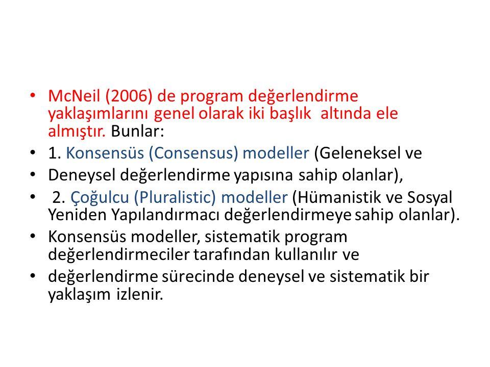 McNeil (2006) de program değerlendirme yaklaşımlarını genel olarak iki başlık altında ele almıştır. Bunlar: