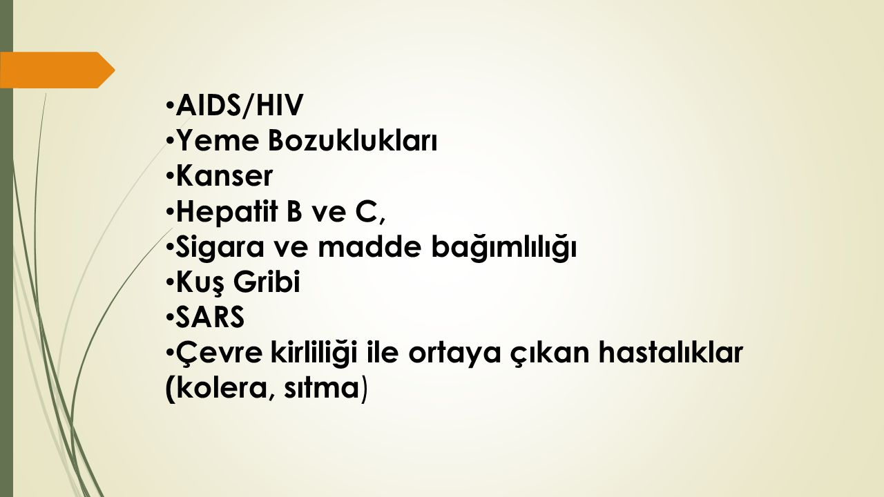AIDS/HIV Yeme Bozuklukları. Kanser. Hepatit B ve C, Sigara ve madde bağımlılığı. Kuş Gribi. SARS.