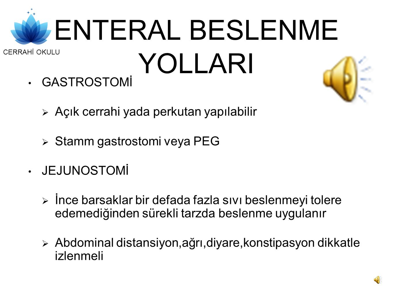 ENTERAL BESLENME YOLLARI