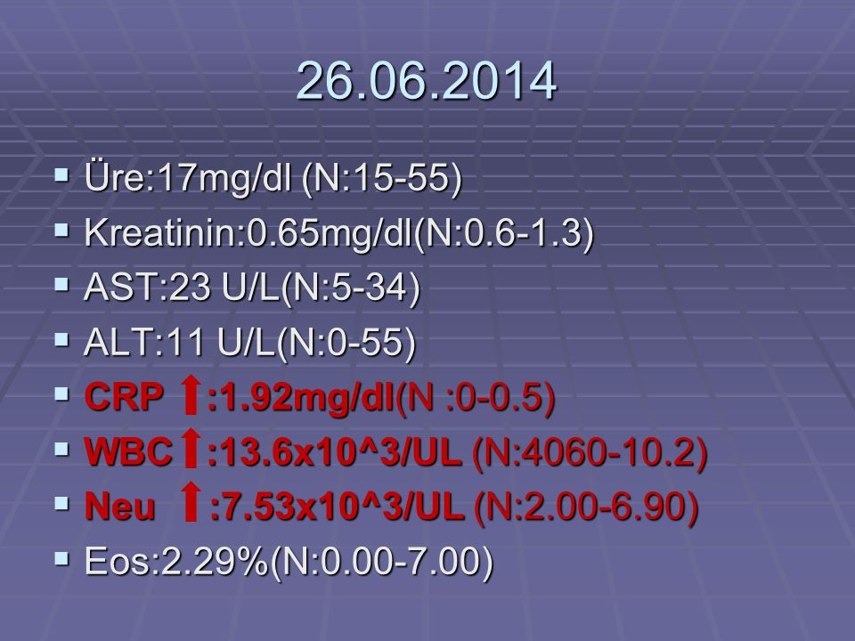 26.06.2014 Üre:17mg/dl (N:15-55) Kreatinin:0.65mg/dl(N:0.6-1.3)