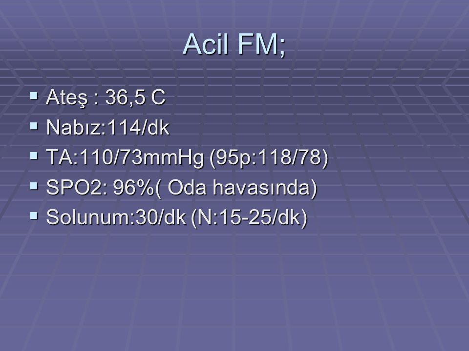 Acil FM; Ateş : 36,5 C Nabız:114/dk TA:110/73mmHg (95p:118/78)