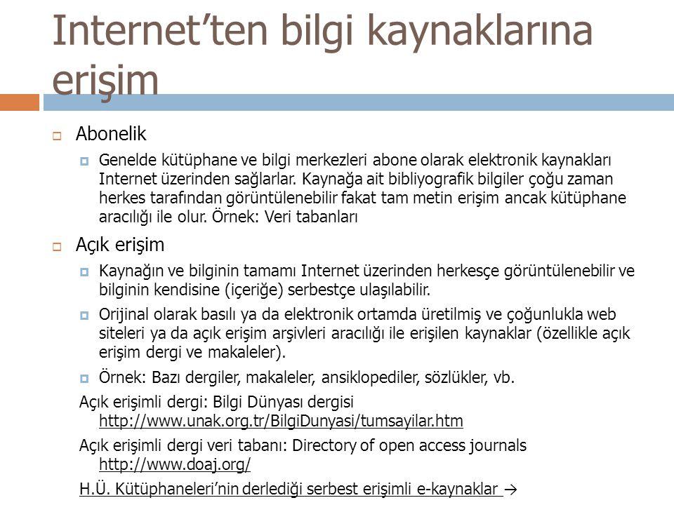 Internet'ten bilgi kaynaklarına erişim