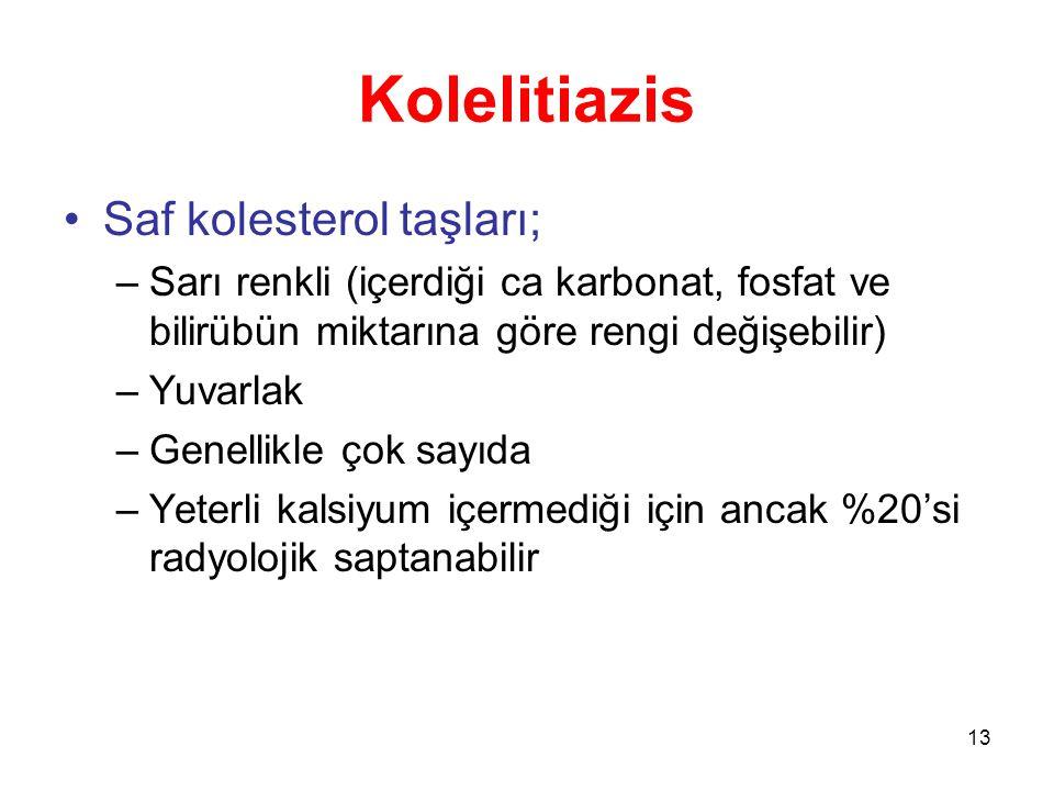 Kolelitiazis Saf kolesterol taşları;