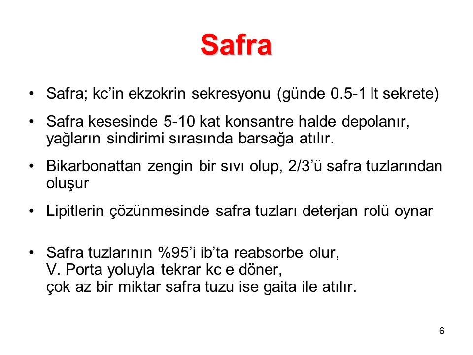 Safra Safra; kc'in ekzokrin sekresyonu (günde 0.5-1 lt sekrete)