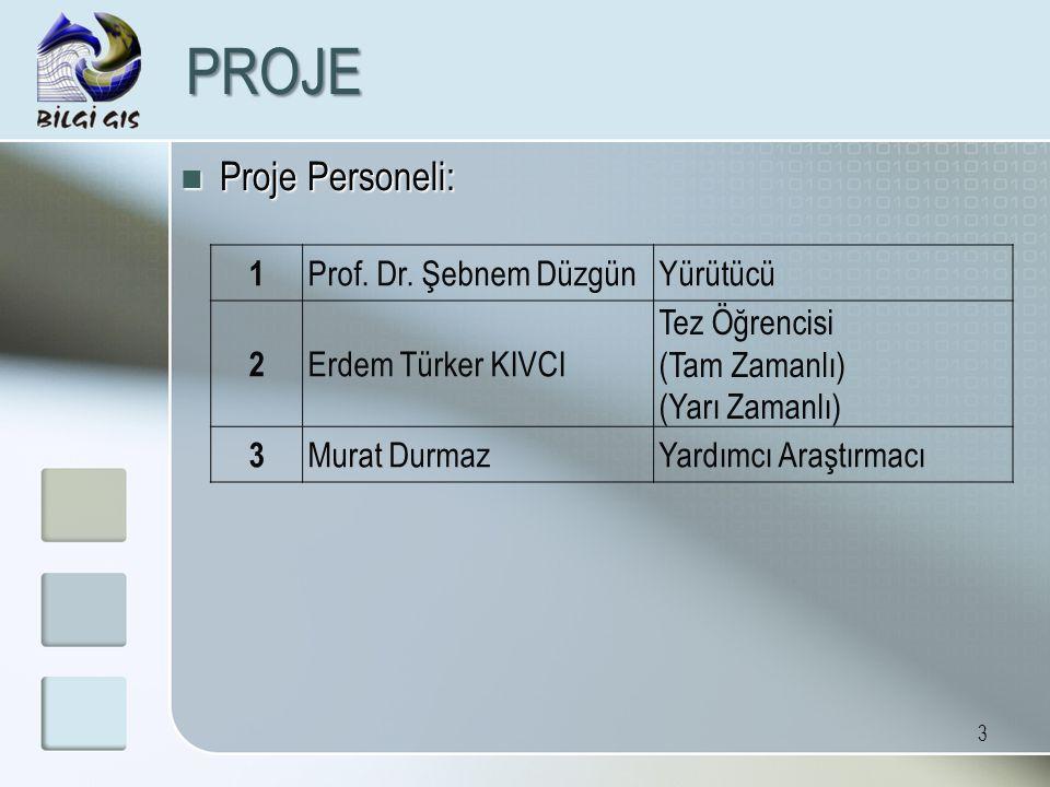 PROJE Proje Personeli: 1 Prof. Dr. Şebnem Düzgün Yürütücü 2