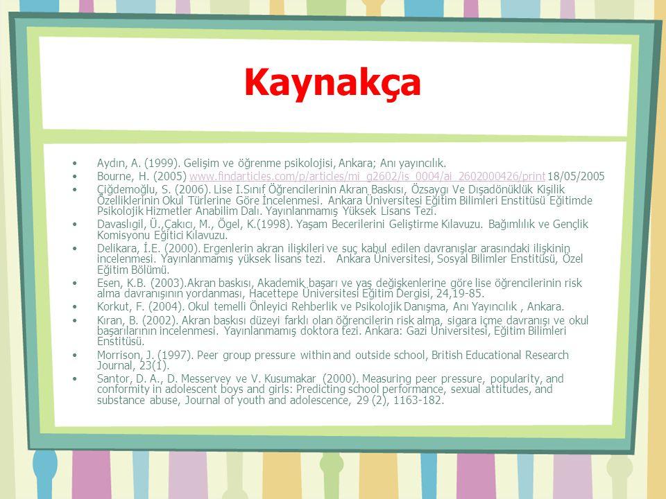 Kaynakça Aydın, A. (1999). Gelişim ve öğrenme psikolojisi, Ankara; Anı yayıncılık.
