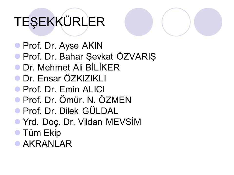 TEŞEKKÜRLER Prof. Dr. Ayşe AKIN Prof. Dr. Bahar Şevkat ÖZVARIŞ