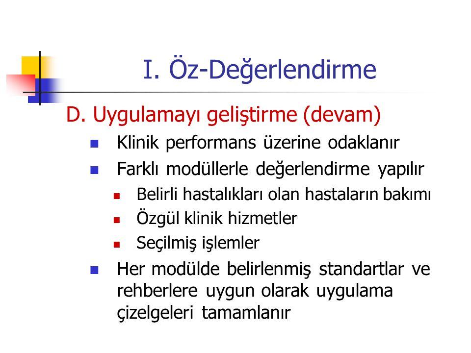 I. Öz-Değerlendirme D. Uygulamayı geliştirme (devam)
