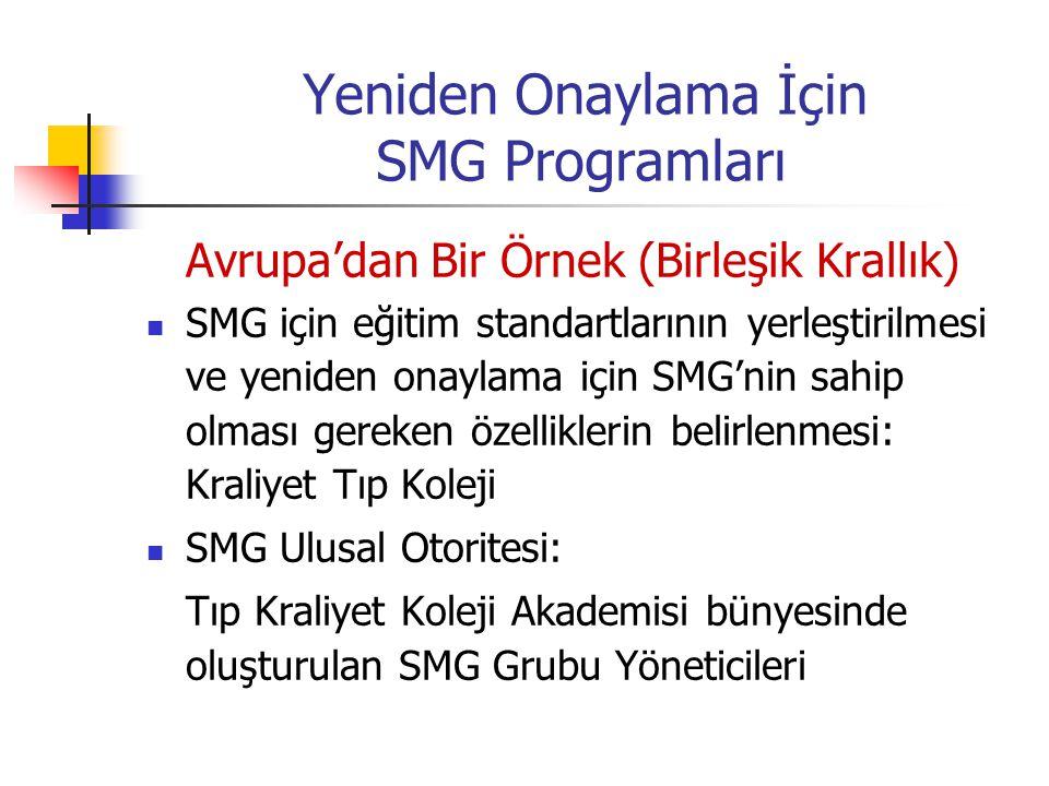 Yeniden Onaylama İçin SMG Programları