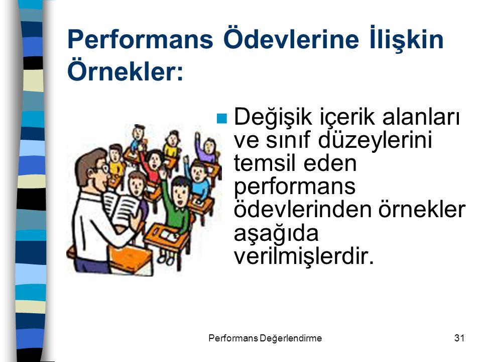 Performans Ödevlerine İlişkin Örnekler:
