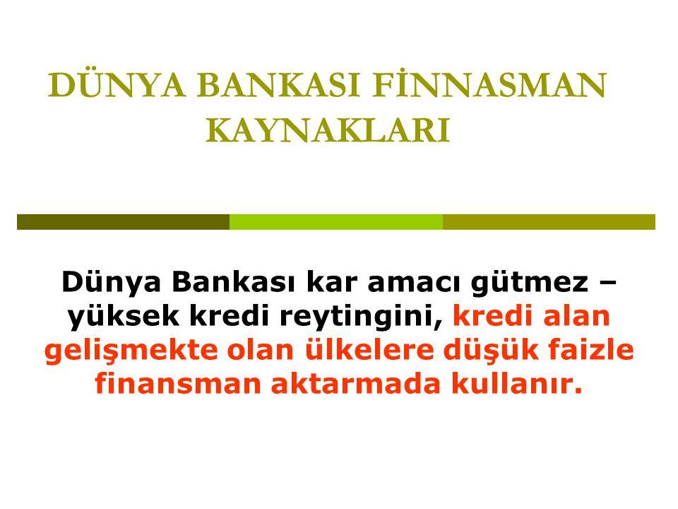 DÜNYA BANKASI FİNNASMAN KAYNAKLARI