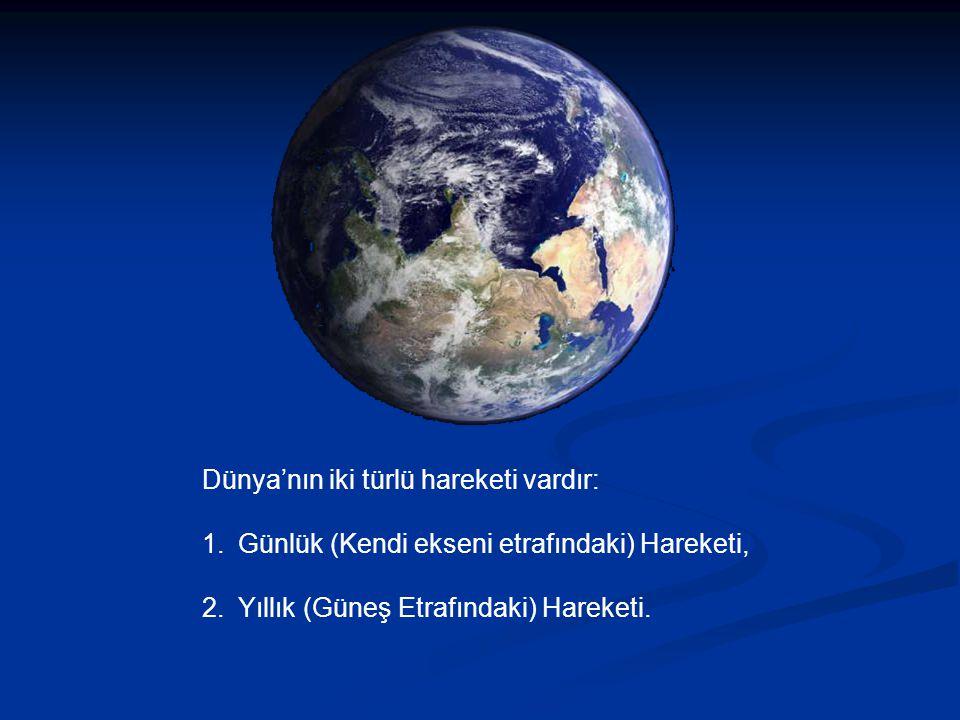 Dünya'nın iki türlü hareketi vardır: