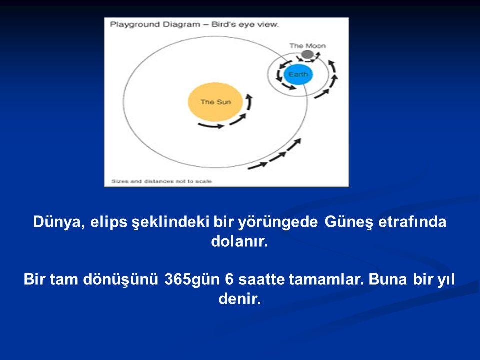 Dünya, elips şeklindeki bir yörüngede Güneş etrafında dolanır.