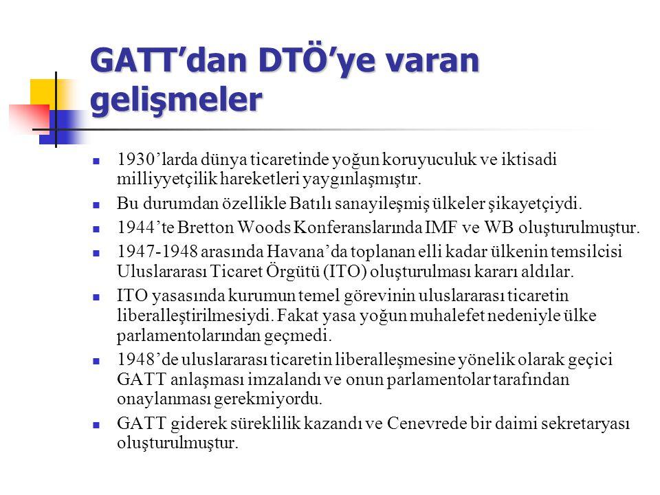 GATT'dan DTÖ'ye varan gelişmeler