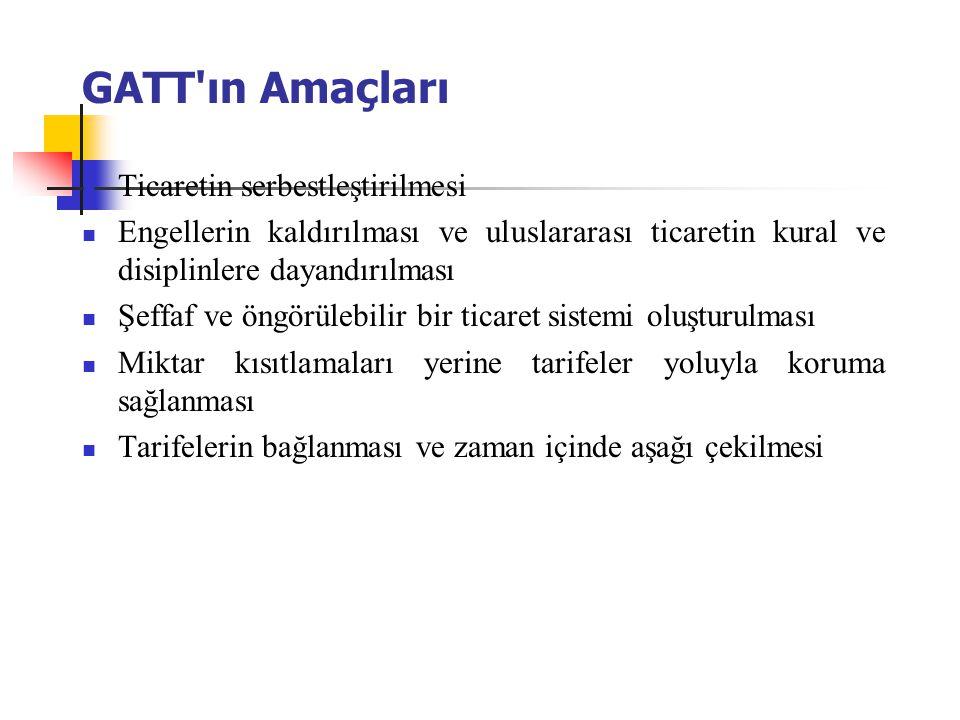 GATT ın Amaçları Ticaretin serbestleştirilmesi