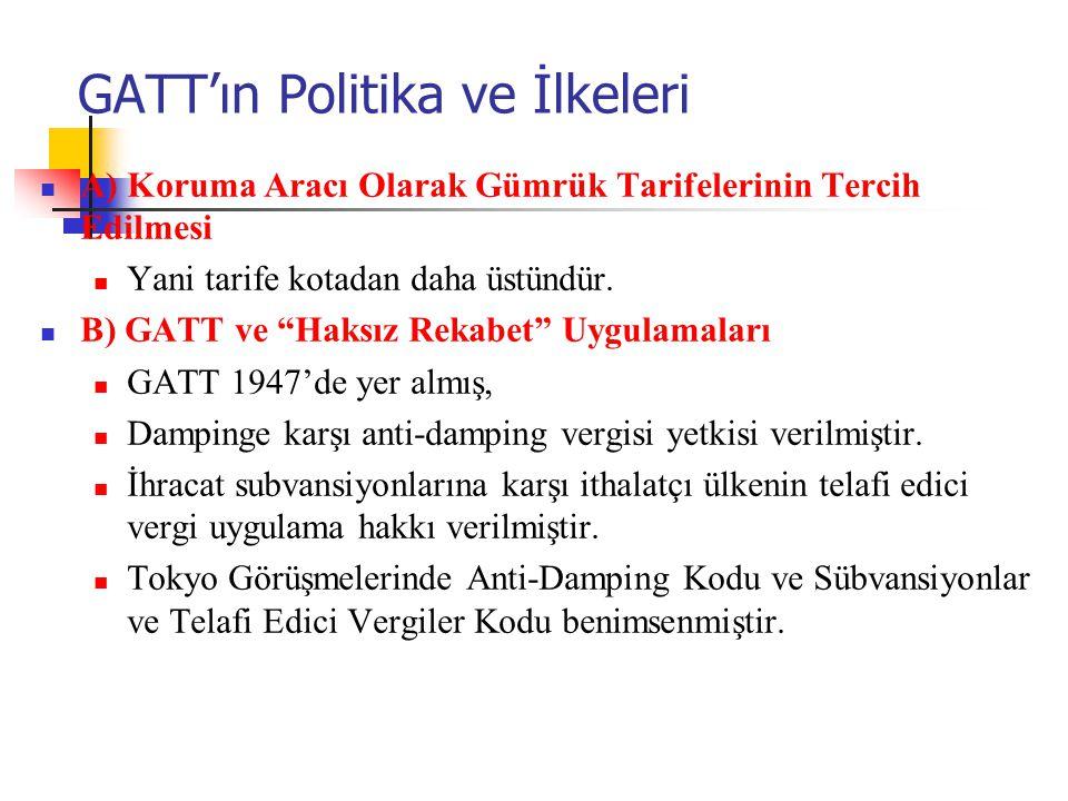 GATT'ın Politika ve İlkeleri