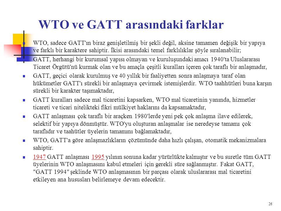 WTO ve GATT arasındaki farklar