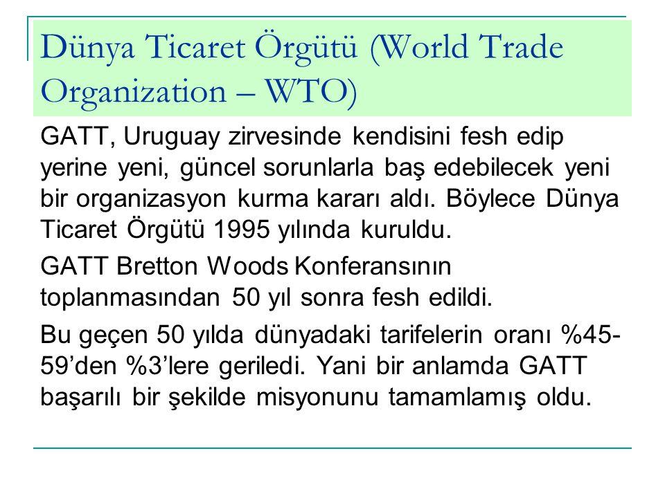 Dünya Ticaret Örgütü (World Trade Organization – WTO)