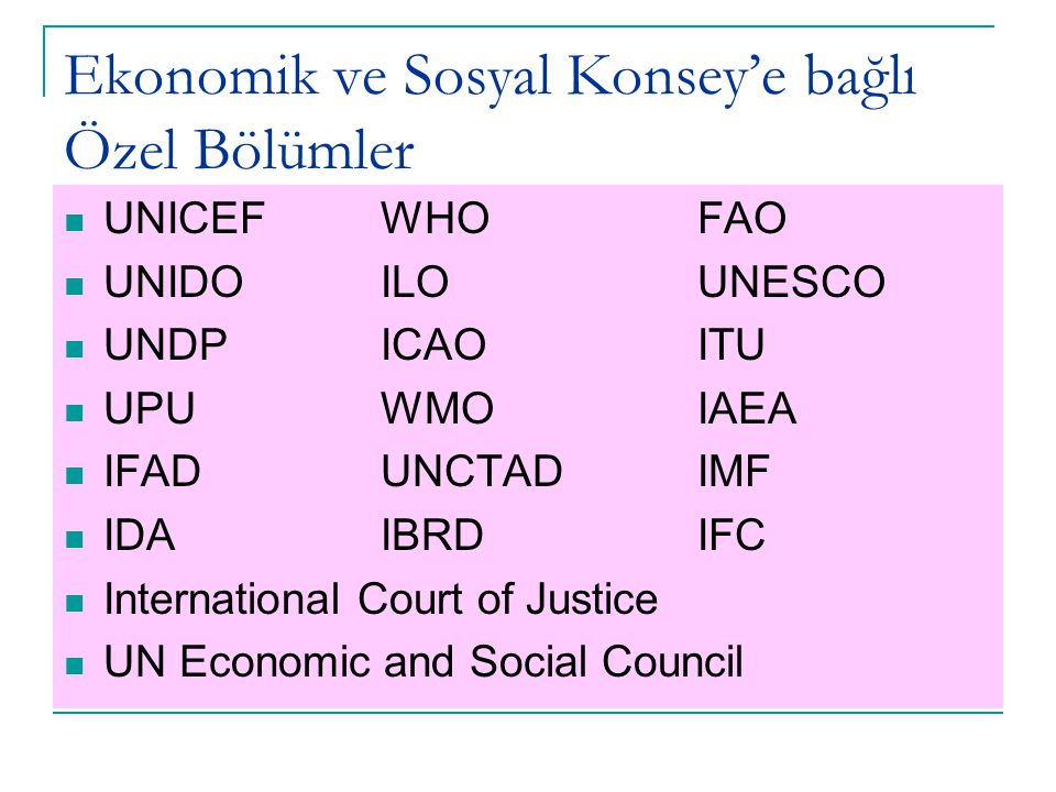 Ekonomik ve Sosyal Konsey'e bağlı Özel Bölümler