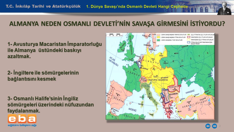 ALMANYA NEDEN OSMANLI DEVLETİ'NİN SAVAŞA GİRMESİNİ İSTİYORDU