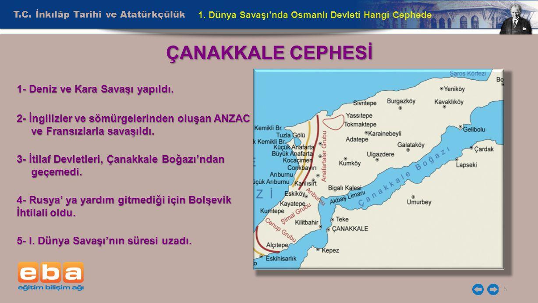 ÇANAKKALE CEPHESİ T.C. İnkılâp Tarihi ve Atatürkçülük