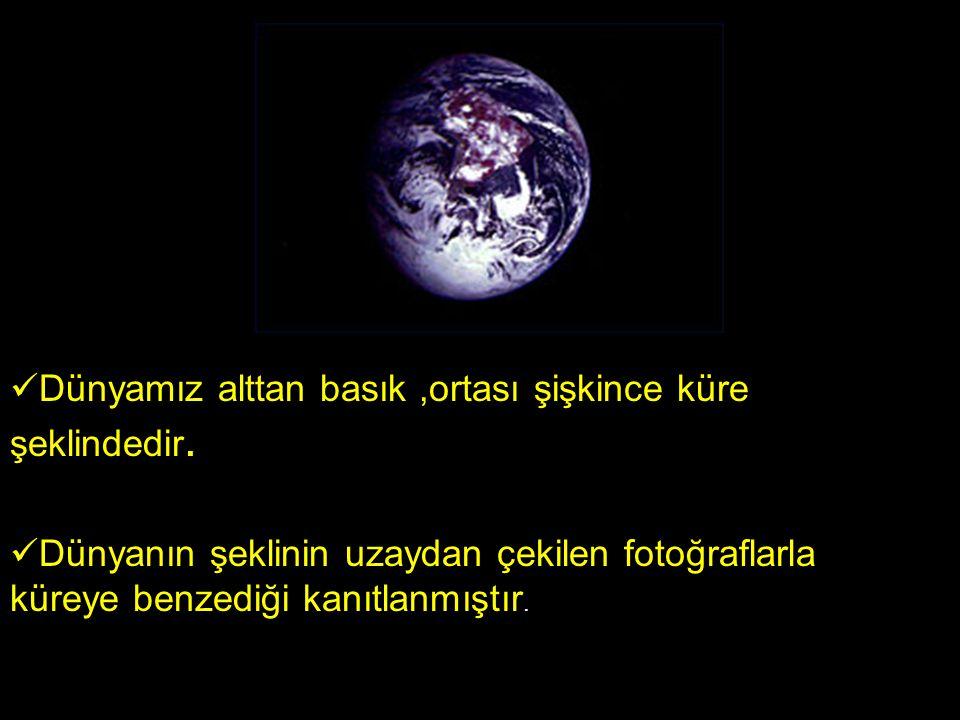 Dünyamız alttan basık ,ortası şişkince küre şeklindedir.