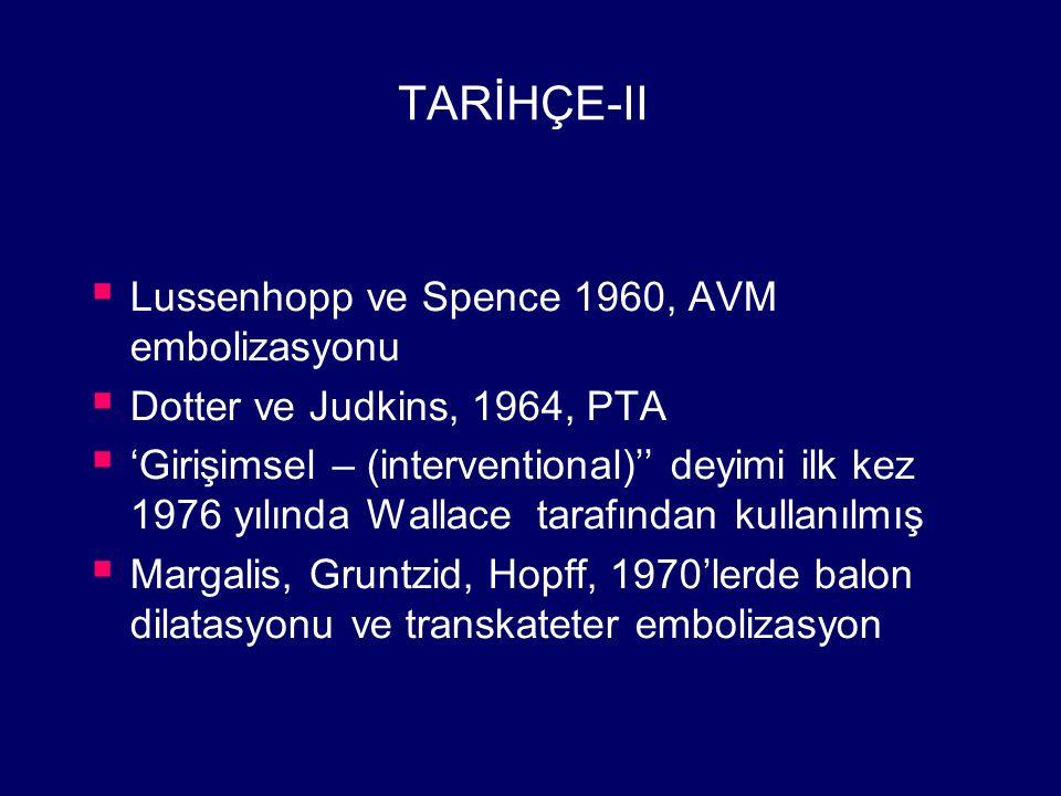 TARİHÇE-II Lussenhopp ve Spence 1960, AVM embolizasyonu