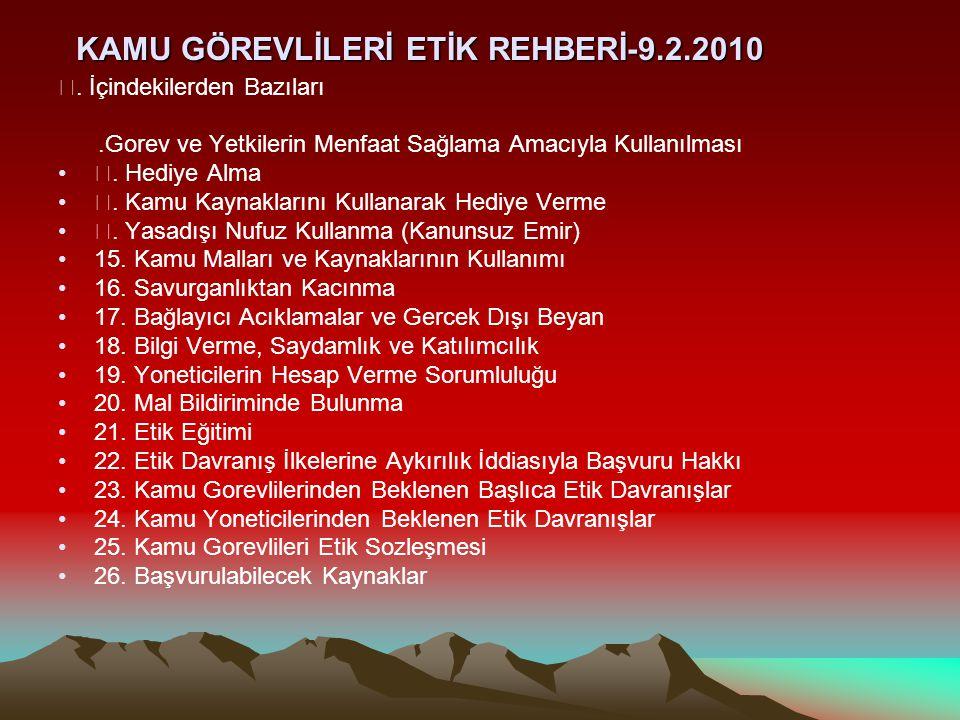 KAMU GÖREVLİLERİ ETİK REHBERİ-9.2.2010