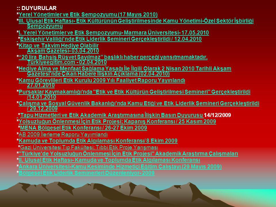 :: DUYURULAR *Yerel Yönetimler ve Etik Sempozyumu (17 Mayıs 2010)