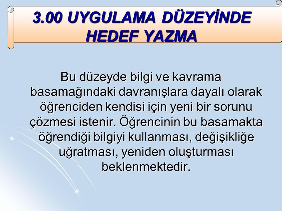 3.00 UYGULAMA DÜZEYİNDE HEDEF YAZMA